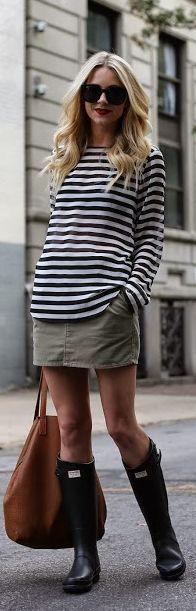 Rain boots + skirt