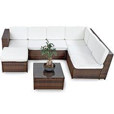 XINRO XXXL Polyrattan Lounge Set Lounge Möbel Lounge Sofa Garnitur   Für 6  Personen Mit Tisch, Fusskocker, Kissen   Rattan Garnitur Sitzgruppe   In/ Outdoor ...