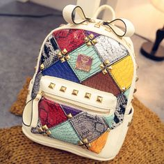 Punk Stitching Colorful Lady Backpack Mini Rivet Contrast