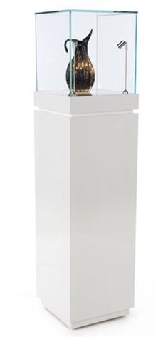 Pedestal Display Case w/ Cabinet Base, Locking Drawer, LED Spotlights - White Museum ShowcaseMuseum Showcase Museum Display Cases, Museum Displays, Pedestal, Glass Museum, Store Fixtures, Glass Design, Warehouse Conversion, Jewellery Display, Jewelry Shop