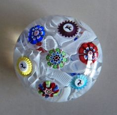 ANTIQUE+BACCARAT+MINIATURE+SCATTERED+MILLEFIORI+GLASS+PAPERWEIGHT+/+FRANCE+19th+#Baccarat