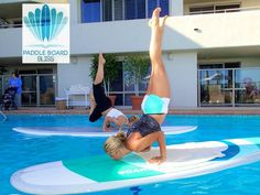 @Frances Durham Sylvia Durham Sylvia Durham Sylvia Tayse Board Bliss demonstrationg Stand up Yoga in our pool