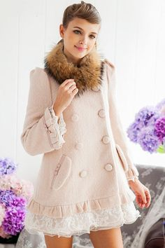 Lace Edge Double Breasted Wool-blend Coat $77.60