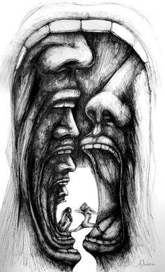 Portrait Drawing Buy No Escape, Ink drawing by Mihai Manea on Artfinder. Dark Art Drawings, Pencil Art Drawings, Art Drawings Sketches, Drawing Faces, Drawings Of Men, Creepy Drawings, Charcoal Drawings, Drawing Hair, Colorful Drawings