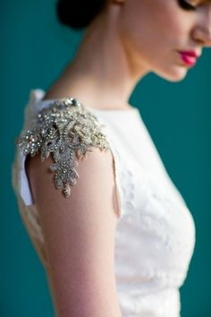 Gold embroidered lace sleeves. Gorgeous.