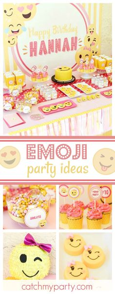 Check out this awesome Emoji birthday party! The dessert table and sweets treats are amazing! 13th Birthday Parties, Birthday Party Tables, 12th Birthday, Girl Birthday, Birthday Ideas, Birthday Emoji, Le Emoji, Emoji Theme Party, Party Time