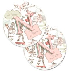 Letter N Love in Paris Pink Set of 2 Cup Holder Car Coasters CJ2002-NCARC