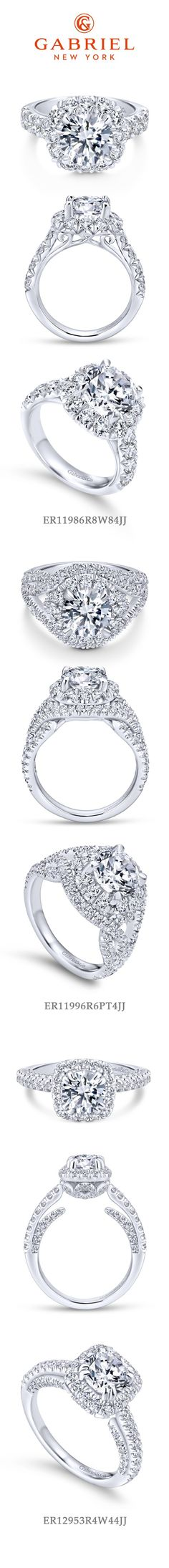 Gabriel - Our Top 3 Halo Engagement Rings! 1) 18k White Gold Round Halo Engagement Ring 2) 18k White Gold Round Halo 3) 14k White Gold Round Halo Infinity
