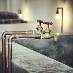 - seriously retro where two taps were standard, as opposed the bath mixers of the last decade or so San Jose Del Cabo, Bath Mixer, Mixer Taps, Industrial Bathroom, Rustic Industrial, Industrial Design, Copper Pipe Taps, Bathroom Faucets, Bath Taps