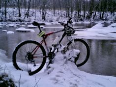 week ago snow came and course i went ride my bicycle, about 15min. when take this pic. i crash  first time at this winter..