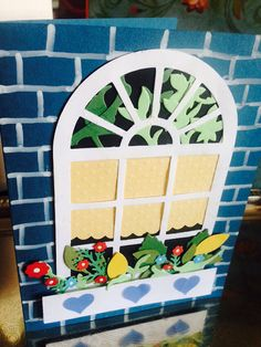 Window Flowers with Arched Window Greeting card sold