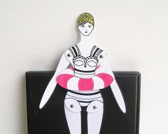 Articulated swimmer doll / bookmark / toy / paper by CUTandTEAR, £6.00