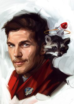 The color and monochrome on Behance - Peter Quill and Rocket Raccoon from Guardians of the Galaxy art