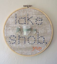 LOVE THAT SHE IS A BEACH COLLECTOR LIKE ME, from Michigan!  embroidery hoop vintage fabric lake glass beach by amylgieschen, $15.00