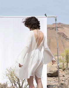 Pull&Bear - femme - robes - robe manches longues dos dénudé - écru - 05390325-V2016