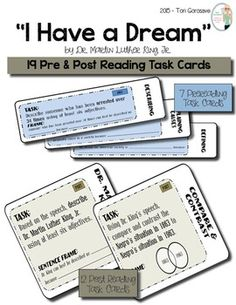 "Task Cards - ""I Have a Dream"""