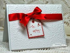 Frugal christmas card #stampin' up! #Lacy Brocade Embossing Folder #birthday #thank you