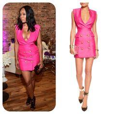 #MarloHampton's Pink & Gold Button Dress #RHOA