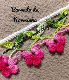 OFICINA DO BARRADO: Croche - Um Barradinho simples e bem especial... Crochet Boarders, Crochet Edging Patterns, Crochet Lace Edging, Crochet Motifs, Crochet Trim, Crochet Designs, Crochet Flowers, Free Crochet, Crochet Baby