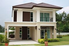 50 Best Inspiring Small Two Story House Design Ideas Two Story House Design, 2 Storey House Design, Bungalow House Design, House Front Design, Design Your Dream House, Small House Design, Modern House Design, Small House Exteriors, Dream House Exterior