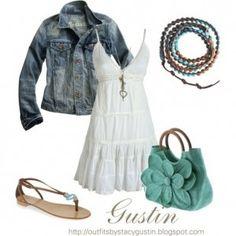 White dress + Jean Jacket + Seafoam Green purse + thong sandals + natural beaded braclet