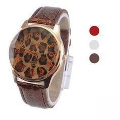 Retro Lederband Leopard Muster Armbanduhr - Damen