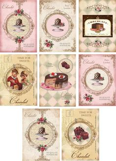 Vintage inspired Chocolate card set tags ATC altered art set of 8 #Handmade #AnyOccasion