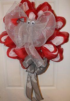 Alabama Elephant Deco Mesh Wreath with Houndstooth Ribbon Bow. $40.00, via Etsy.