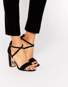 Image 1 of Dune Maybell Black Suede Gold Detail Block Heel Sandals