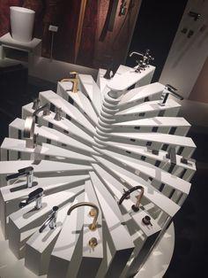GRAFF's faucet display at Salone del Mobile, 2018 Showroom Design, Tile Showroom, Interior Design Studio, Bar Design, Display Design, Modern Bathroom Paint, Shoe Store Design, Bathroom Showrooms, Cutting Edge Stencils