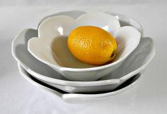 Vintage Large Lotus Bowls Set of 3 White Nesting by GSaleHunter