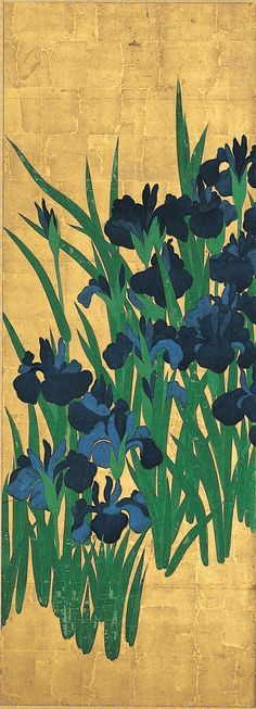 Ogata Kōrin (1658-1716) - Irises (detail), 1701-02 - Ink and color on paper with…
