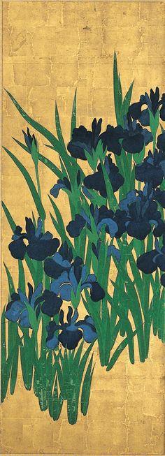 Ogata Kōrin (1658-1716) - Irises (detail), 1701-02 - Ink and color on paper with gold leaf background - Nezu Art Museum, Tokyo