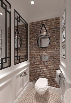 "10 ""Exposed Brick Tiles"" Bathroom Design Ideas Brick wall tiles can introduce a distinct heat to a washrooms interior. House, Home, Brick Tiles Bathroom, Brick Bathroom, Bathroom Interior, Toilet Design, Bathroom Tile Designs, Small Farmhouse Bathroom, Bathrooms Remodel"