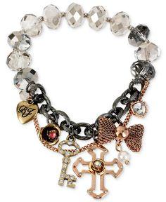 Betsey Johnson Hematite-Tone Cross Multi-Charm Half Stretch Bracelet - Fashion Jewelry - Jewelry & Watches - Macy's