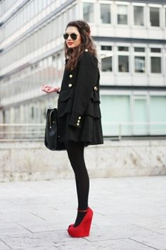 all black with pop of red
