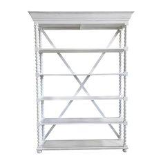 Faith- Bright White 5 Shelf Rack || Bright white 5 shelf rack. Perfect for bar back, display rack or champagne display. Dimensions: 58 x 15 x 81.