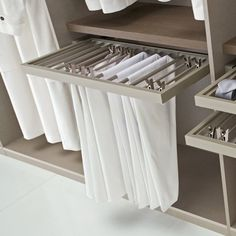Walk-in-wardrobe: Pull-out trouser rail (but the Ikea version) Más Walk In Robe, Walk In Wardrobe, Bedroom Wardrobe, Wardrobe Design, Walk In Closet, Home Bedroom, Wardrobe Ideas, Attic Master Suite, Master Closet