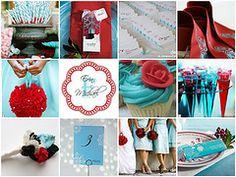 Aqua and red winter wedding theme