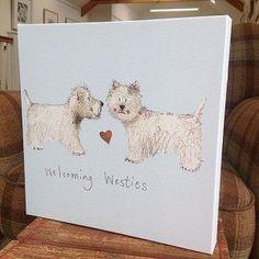 Alex Clark - Lienzo con diseño de perros, texto en inglés, Welcoming Westies