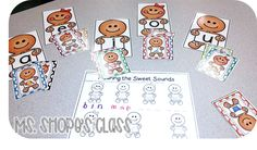 gingerbread vowel sorting  and blending activity
