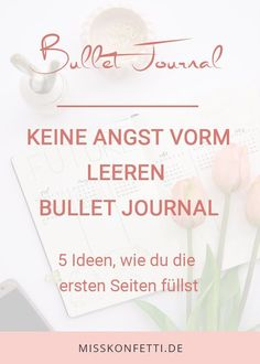 die ersten 5 seiten im Bullet Journal Miss Konfetti