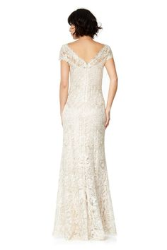 Corded Embroidery on Tulle Cap Sleeve Gown | Tadashi Shoji