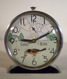 Westclox U. Animated Early Bird Alarm Clock Bobbing Robin & Worm for sale Worms For Sale, Antique Clocks, Vintage Clocks, Classic Clocks, Art Nouveau, Art Deco, Cool Clocks, Early Bird, Ideas