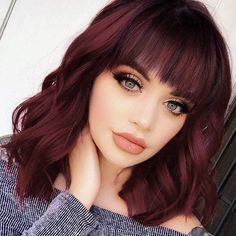 Nnzes Bob Curly Wig Synthetic Short Wine Red Wig with Bangs Natural Looking Heat Resistant Fiber Hair for Women Curly Bob Wigs, Short Wigs, Wine Hair, Wigs With Bangs, Red Hair With Bangs, Red Hair With Black Roots, Red Hair For Fall, Brown Hair With Red Highlights, Fall Red Hair