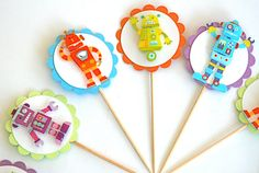 Awesome Robot Love Cupcake Toppers- Reserved for Kath