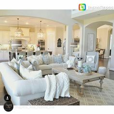 How To Quickly And Easily Create A Living Room Furniture Layout? New Living Room, My New Room, Home And Living, Open Living Rooms, Living Room Furniture Sets, Living Room Open Concept, Living Room Neutral, White Couch Living Room, Fresh Living Room
