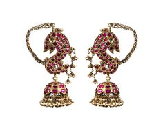 Pair of ruby ear ornaments, each taking the form of a fish, embellished with seed pearls.