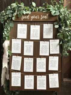 wedding seating 20 Table Find your seat seating chart board rustic seating sign wood Rustic Seating Charts, Table Seating Chart, Seating Cards, Mirror Seating Chart, Reception Seating Chart, Wedding Table Assignments, Wedding Table Seating, Wedding Table Cards, Diy Wedding Place Cards