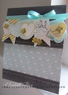 Stampin' Up! Card by Elizabeth P at Seeing Ink Spots: My favorite paper right now and the Hearts a Flutter bundle